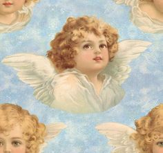 Wings of Whimsy: Cherub Seamless Tile Blue - free for personal use #vintage #ephemera #printable