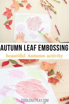 Are you looking for a simple activity that's appropriate for toddlers as well as older children? This Autumn Leaf Embossing activity is super fun and the process couldn't be simpler even for the most little ones to follow! #leafactivity #leafcrafts #fallcraftsforkids #fallcrafts Fall Activities For Toddlers, Preschool Art Activities, Apple Activities, Outdoor Activities For Kids, Fall Crafts For Kids, Kids Crafts, Autumn Crafts, Winter Activities, Toddler Themes
