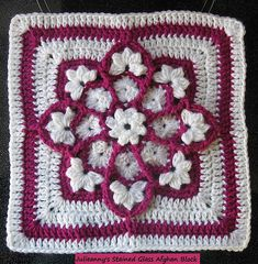 """This 12"""" afghan square is fast, fun and deceptively easy to crochet. Use black as your outline for a stained glass effect, or go with a bright or muted palette. You can't go wrong, and I'll bet you can't make just one."""