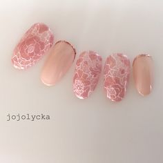 Peach and lace, also ombré and glittered tips #jojolycka
