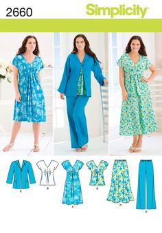 Misses or plus size Dress, Top, Skirt and Jacket Simplicity sewing pattern part of Simplicity Spring 2009 collection. Pattern for 5 looks. For sizes BB Simplicity Sewing Patterns, Sewing Patterns Free, Free Sewing, Sewing Tutorials, Clothing Patterns, Dress Patterns, Sewing Hacks, Sewing Tips, Sewing Projects