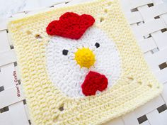 Year of the Chicken Square - Free Crochet Pattern. Celebrate the start of the year with a chicken granny square. Crochet Squares Afghan, Granny Square Crochet Pattern, Afghan Crochet Patterns, Crochet Granny, Crochet Motif, Crochet Yarn, Crochet Stitches, Granny Squares, Crochet Gifts