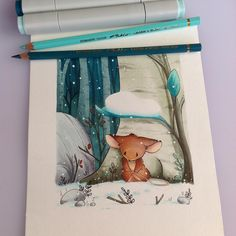 New drawing with the little mouse ! She lost her way ... #instaart #instartist #illustration #drawing #children #story #copic #ink #pencil #mouse #snow #winter #forest #nature #animal #little #sadness #best_of_Illustrations