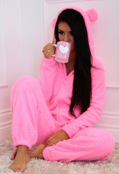 Bubbaloo Pink Fleece Hooded Ear Onesie from pink boutique $33.52