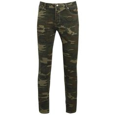 Skinny Fit Camo Print Jeans ($21) ❤ liked on Polyvore featuring jeans, pants, skinny jeans, camo jeans, camoflage jeans, skinny leg jeans and camouflage skinny jeans