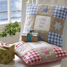 personalised star cushion by tuppenny house designs Sewing Pillows, Diy Pillows, Decorative Pillows, Throw Pillows, Patchwork Cushion, Quilted Pillow, Scatter Cushions, Pin Cushions, Cushion Covers
