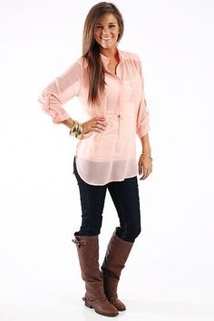 Boyfriend Pocket Blouse, Peach $35.00 This sheer ...
