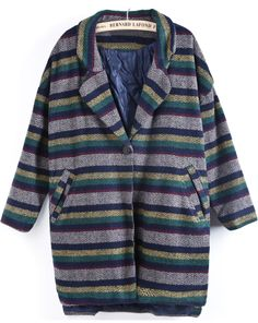 Blue Lapel Long Sleeve Striped Woolen Coat US$50.82