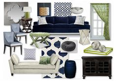 Navy/Lime Glam Living Room by margaretbearden. Create your own interior design moodboard now! Blue And Green Living Room, Navy Living Rooms, Glam Living Room, Living Room On A Budget, Living Room Colors, New Living Room, Living Room Designs, Room Color Schemes, Family Room Decorating