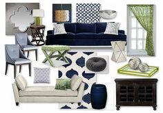 Navy/Lime Glam Living Room by margaretbearden   #Olioboard #Navy #Blue