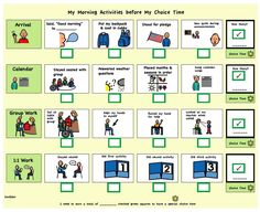 Looking for a Printable Visual Charts For Autism. We have Printable Visual Charts For Autism and the other about Printable Chart it free. Classroom Behavior, Autism Classroom, Special Education Classroom, Behavior Log, Positive Behavior, Classroom Ideas, Morning Activities, Time Activities, Self Contained Classroom