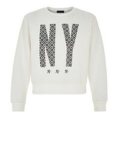 Teens White Geo Print NY Textured Sweater  | New Look