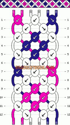 stripes across x cross diamond friendship bracelet pattern - three 3 color