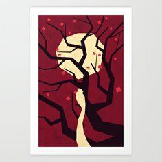 Bird in evening red Art Print by Yetiland - $19.00