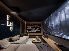 Home Theater Room Design, Home Cinema Room, At Home Movie Theater, Home Theater Rooms, Home Theater Seating, Theatre Design, Home Interior Design, Home Theatre, Dark Interiors