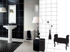 Baie Deco - faianta si gresie eleganta cu sanitare intr-un stil retro My Dream Home, House Ideas, Spaces, Future, Deco, Bathroom, Washroom, My Dream House, Future Tense