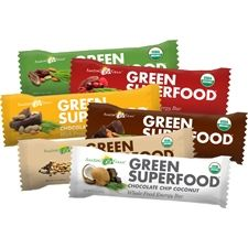 Green SuperFood bars. Some flavors are high in sugar (up to 27 grams per bar)