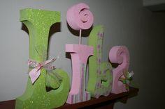 Custom wood letters nursery letters girl by PaintedPoshDesigns