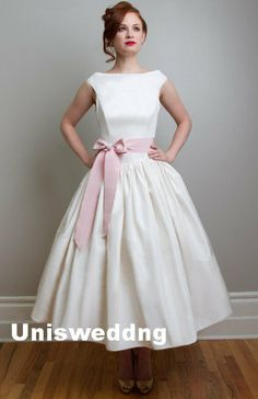 HAIR!!!  Pink sash cap sleeves ankle length vintage wedding by Sunnabridal, $228.00