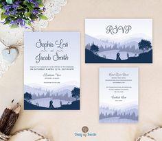 Watercolor wedding Invitation set printed Blue wedding