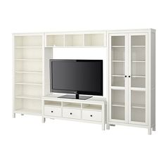 HEMNES TV storage combination - white - IKEA Thinking about something like this.the right side would be my desk though, not the shelf with doors. Living Tv, My Living Room, Home And Living, Free Standing Shelving Units, Wall Shelving Units, Tv Furniture, Living Room Furniture, Ikea Solid Wood, Coffee Table Inspiration