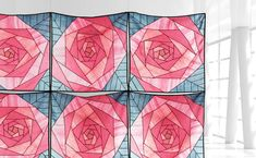 Mi Hyeon Yoo, Jessica M.H Yoo — Meem Designs. Look at the roses of Glasgow Arts & Crafts tradition. Crazy Patchwork, Patchwork Patterns, Quilt Patterns, History Of Quilting, Visual Communication Design, Colors And Emotions, Fabric Art, Paper Piecing, Textile Art