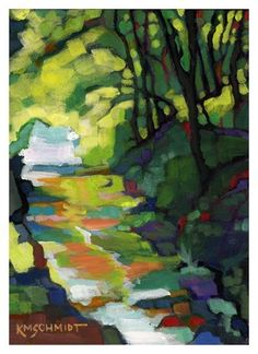 a sparkling stream through the woods near Eureka Springs, Arkansas Karen Mathison Schmidt 5 x 7 Paintings I Love, Watercolor Paintings, Art Aquarelle, Fabric Painting, Painting Art, Klimt, Landscape Art, Painting Inspiration, New Art