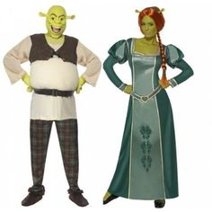 Disney Shrek AND Fiona Couples Combo Halloween Fancy Dress Costumes Outfits   #Halloween #HalloweenCostume #HalloweenCostumeContest