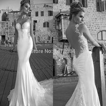 Designer de luxo romântico Sexy Backless Mermaid Vestido de noiva Lace abrir voltar Vestido de noiva 2014 Vestido de noiva sereia(China (Mainland))