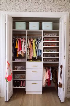 How To Organize A Baby Closet with The Home Edit is part of Apartment Organization With A Baby - Last year, I worked with The Home Edit on organizing my kitchen I learned so much from them I Kids Closet Storage, Baby Closet Organization, Kid Closet, Bathroom Organization, Attic Closet, Closet Redo, Organisation Hacks, Attic Storage, Smart Storage
