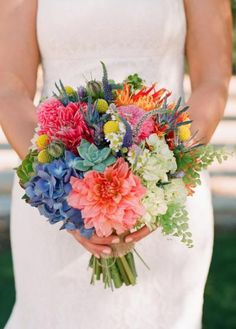 Blue Wedding Flowers Beautiful and colorful bouquet - Looking for destination wedding bouquet inspiration? Check out our collection of 150 stunning bridal bouquets. Prom Flowers, Blue Wedding Flowers, Bridal Flowers, Flower Bouquet Wedding, Floral Wedding, Trendy Wedding, Bouquet Flowers, Purple Wedding, Bright Color Wedding