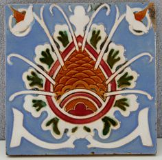 ESTATE- ANTIQUE MAW & COMPANY POTTERY TILE BENTHALL WORKS ENGLAND 6.25 INCH
