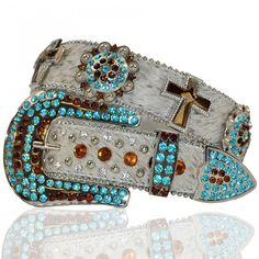 Rhinestone Cross Conchos Turquoise Western Buckle Cowgirl Horse Hair Belt S M XL Cowgirl Belts, Cowgirl And Horse, Cowgirl Bling, Western Belts, Cowgirl Style, Western Wear, Cowgirl Hair, Cowgirl Outfits, Western Outfits