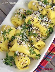 Khandvi, Microwave Recipe recipe | Indian Microwave Recipes | by Tarla Dalal | Tarladalal.com | #685
