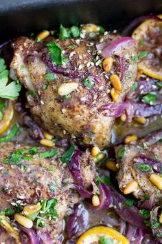 Here's an amazing roast chicken recipe from chef Yotam Ottolenghi. Chicken thighs are spiced with za'atar and sumac, tossed with onions, lemons and garlic, and roasted. This is a great dinner party recipe because it's a beautiful dish, you can do all the Yotam Ottolenghi, Ottolenghi Recipes, Ottolenghi Cookbook, Roast Chicken Thigh Recipes, Roasted Chicken Thighs, Chicken Legs, Recipe Chicken, Keto Chicken, Tostadas