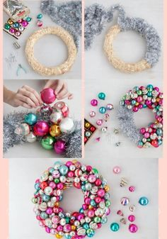 Christmas Ornament Wreath Cute and Easy Christmas Ornament Ideas Easy Christmas Ornaments, Noel Christmas, Homemade Christmas, Diy Christmas Gifts, Christmas Projects, Simple Christmas, Christmas Vacation, Christmas Wreaths Diy Ornaments, Bauble Wreath