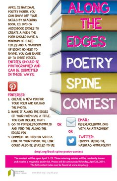 Celebrate National Poetry Month by creating a poem from the spines of books, DVDs, CDs, or audiobooks. Participants have a chance to win one of three magnetic poetry kits!
