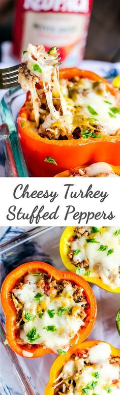 An easy, cheesey turkey stuffed peppers recipe perfect for weeknight dinner. This healthy meal is done in only 30 minutes!