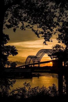 Memphis bridge sunset