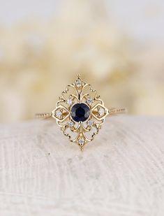 Art deco engagement ring Vintage antique Sapphire engagement ring rose gold Alternative Unique Diamond wedding women Bridal Anniversary gift