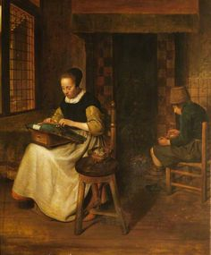 Interior with Old Man and Old Woman Spinning  Quiringh van Brekelenkam (after 1622–1669 or after) (after)  Worcester College, University of Oxford