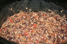 Slow Cooker Seasoned Black Beans and Rice