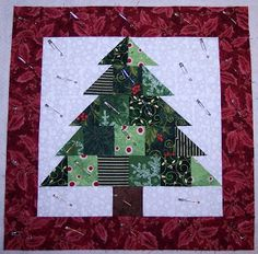 xmas tree quilted pillow