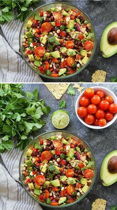 This Easy And Fresh Black Bean Salad With Corn, Avocado, Tomatoes, Red Pepper, Cilantro, And Lime Is Always A Crowd Pleaser! Serve It As A Salad Or Dip With Tortilla Chips! Visit twopeasandtheirpod.com for more simple, fresh, and family friendly meals. #familyfriendlymeals #salad #easyrecipe #healthy