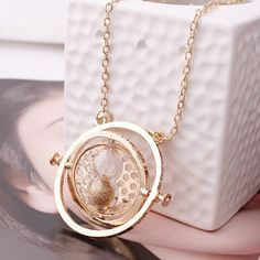 Rotating Time Turner Necklace - Gold Sand