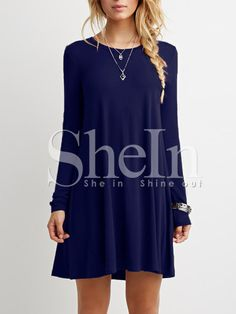 Blue Long Sleeve Casual Dress
