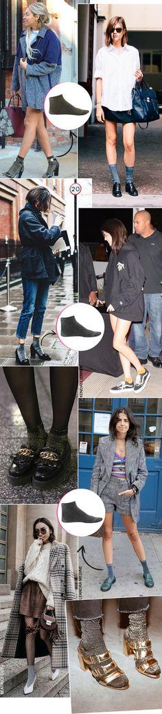 Street style look com meia de lurex.