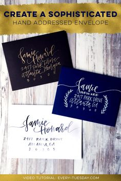 Create a sophisticated hand addressed envelope! Full step-by-step video tutorial here: https://every-tuesday.com/create-a-sophisticated-hand-addressed-envelope