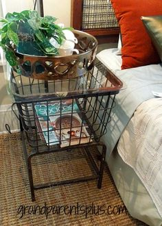 Laundry Basket - repurposed as a bedside table