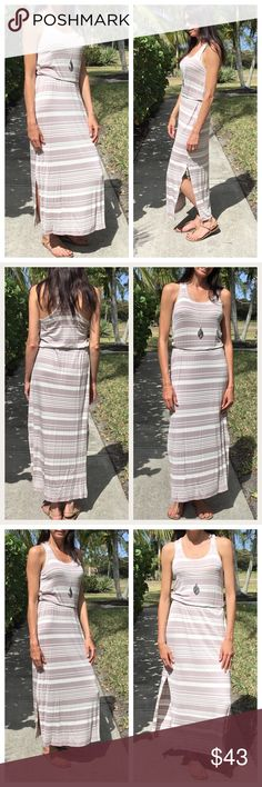 🆕 ⚓️ Taupe Striped Maxi Dress ⚓️ A must have in your Spring/Summer wardrobe.   Sleeveless round neck striped dress with elastic waist.  Has a slit below the knee. Razor back dress.  Material content is 95% rayon and 5% spandex. Dresses Maxi